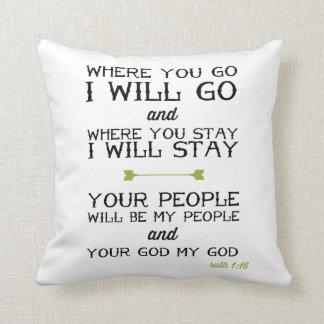 Ruth 1:16 | Inspirational Bible Verse Cushion