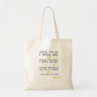 Ruth 1:16 | Inspirational Bible verse Tote Bag