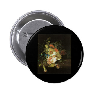 Ruysch Carnation Morning Glory with other flowers Pinback Buttons