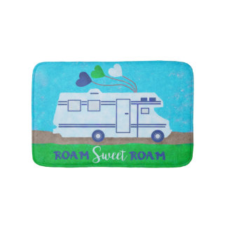 RV Motorhome Roam Sweet Roam Cute Camper Travel Bath Mat
