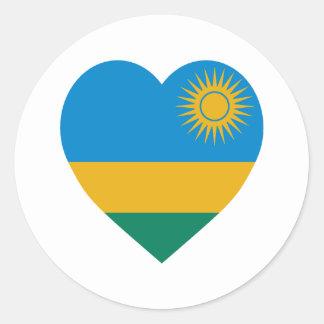 Rwanda Flag Heart Classic Round Sticker