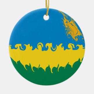 Rwanda Gnarly Flag Ornament