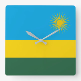 Rwanda National World Flag Square Wall Clock