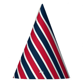 RWB Baseball Coord Stripes 1-PAPER PARTY HATS