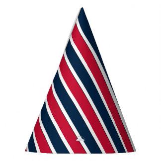 RWB Baseball Coord Stripes 1-PAPER PARTY HATS