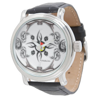 RWW Healing Art Design  Black Vintage Leather Watch