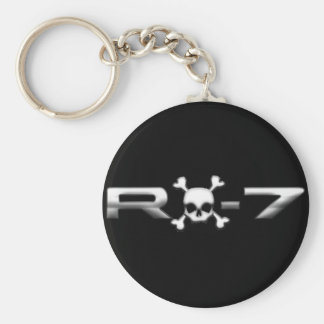 RX7 with a skull Basic Round Button Key Ring