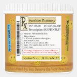 RX Funny Happiness Prescription Square Sticker