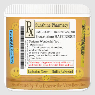 RX Funny Happiness Prescription Square Sticker