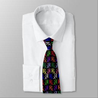 rx logo rainbow black on   black tie
