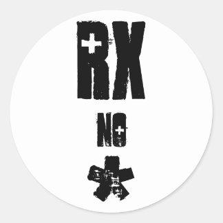 Rx no asterisk round sticker