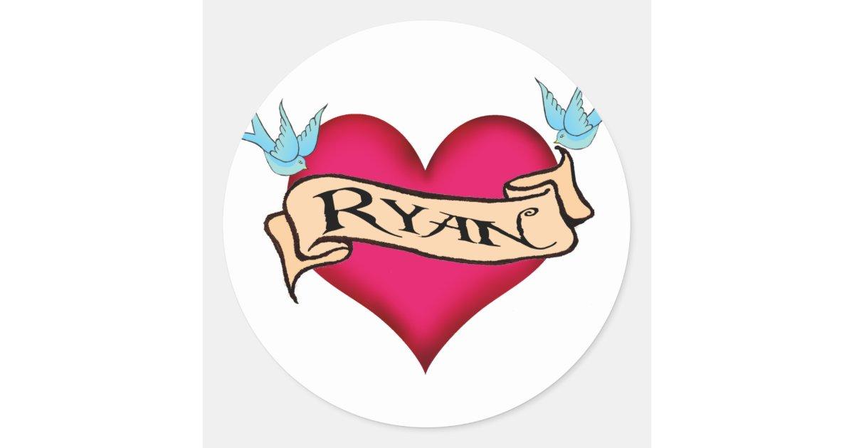 Ryan custom heart tattoo t shirts gifts round sticker for Custom tattoo stickers