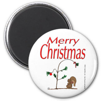 s14 Christmas Squirrel and Humble Christmas Tree Refrigerator Magnet