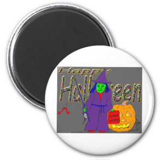 s8 Halloween witch fishing with gummi worms Magnets
