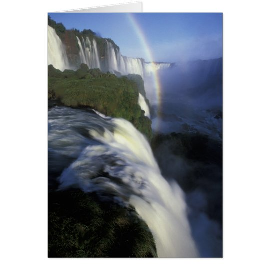 S.A., Brazil, Iguassu Falls Falls with rainbow Card