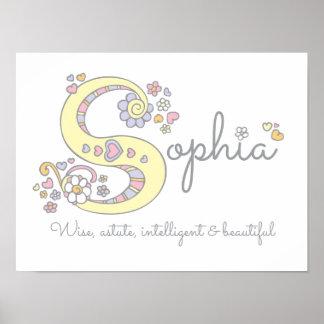 S for Sophia monogram letter art name meaning Poster