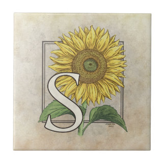 S for Sunflowers Flower Monogram Tile