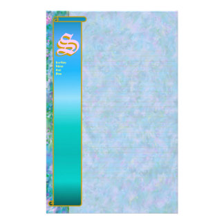 "S Initial ""Blue Garden"" Initial Fine Lined Personalized Stationery"