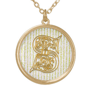 "S Initial Monogram ""Gold Pin Stripe"" Necklace"