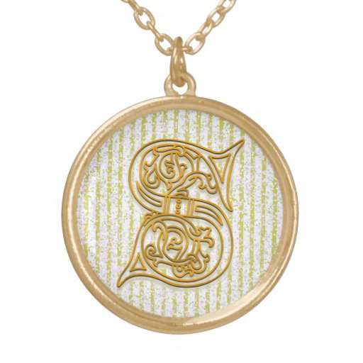 """S Initial Monogram """"Gold Pin Stripe"""" Necklace Necklace"""