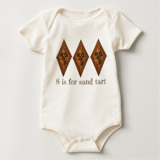 S is for Sand Tarts Christmas Cookie Holiday ABCs Baby Bodysuit