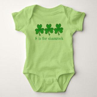 S is for Shamrock Green Lucky Clover St. Patrick's Baby Bodysuit