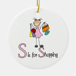 S is for Shopping Ceramic Ornament