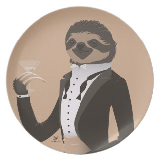 S is for Sloth in a Smoking Dinner Plates