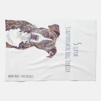 S is for Staffordshire Bull Terrier Tea Towel