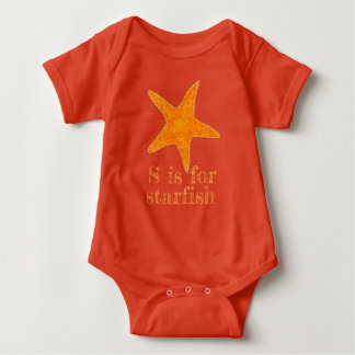 S is for Starfish Orange Star Fish Beach Shell Baby Bodysuit