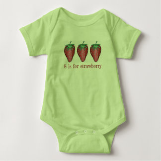 S is for Strawberry Red Strawberries Fruit ABCs Baby Bodysuit
