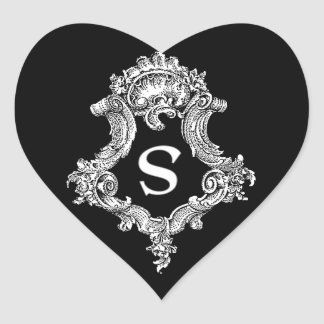 S Monogram Initial Heart Stickers