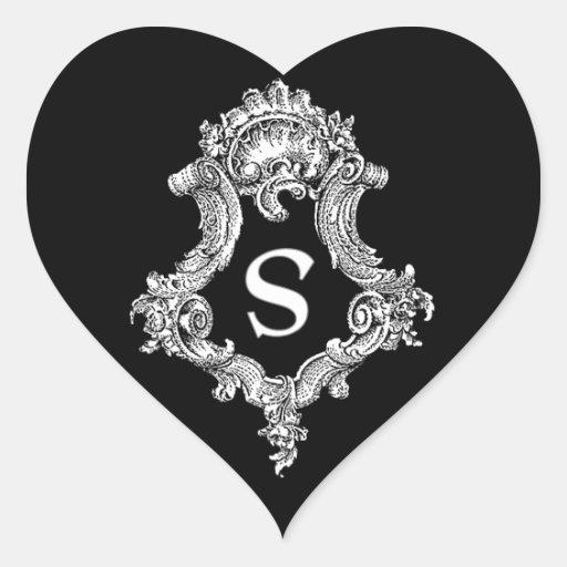 S Monogram Initial Heart Stickers