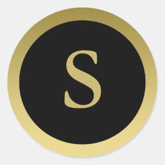 S :: Monogram S Elegant Gold and Black Sticker