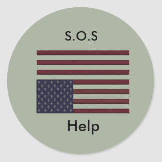 S.O.S Help Classic Round Sticker