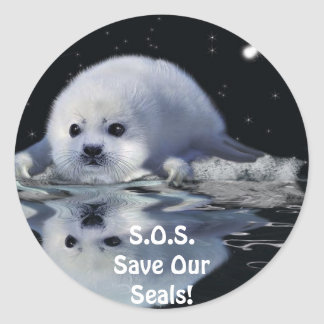 S.O.S. SAVE OUR HARP SEALS STICKERS