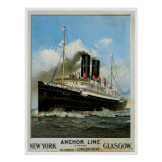 S.S. Caledonia Vintage Ship Advertisement Poster