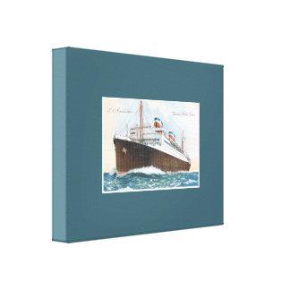 S.S. Manhattan Vintage Ocean Liner Stretched Canvas Print