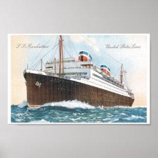 S.S. Manhattan Vintage Ocean Liner Print