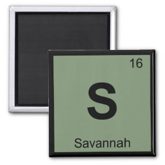 S - Savannah Georgia City Chemistry Periodic Table Square Magnet