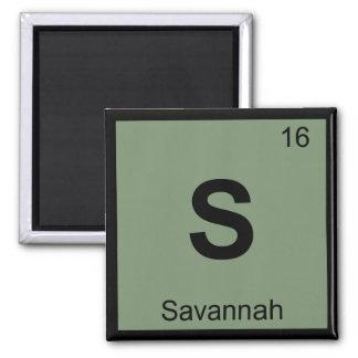 S - Savannah Georgia City Chemistry Periodic Table Square Magnet
