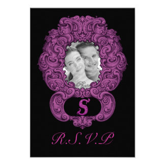S - The Falck Alphabet Pink Personalized Invitations