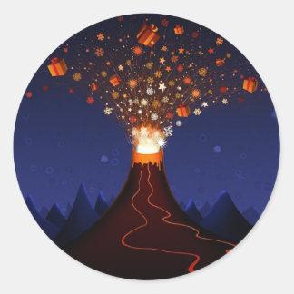 s_volcano-2560x1600 round sticker