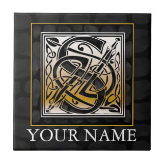 "S ""Your Name"" Celtic Black Stone Monogram Tile"