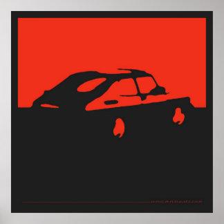 Saab 900 SPG/Aero - Red on charcoal black poster