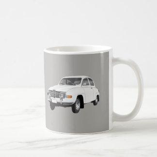 Saab 96, white, coffee mug
