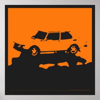 Saab 99 EMS - Orange on charcoal black poster