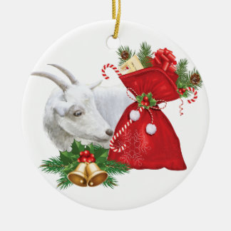 Saanen Goat With Holiday Spirit Ceramic Ornament
