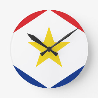 Saba Flag Round Clock