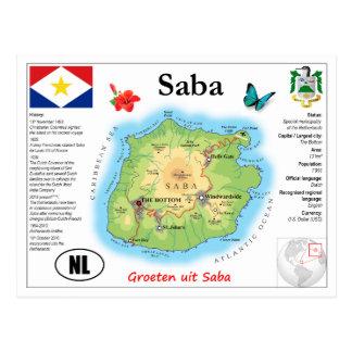 Saba Map Postcard